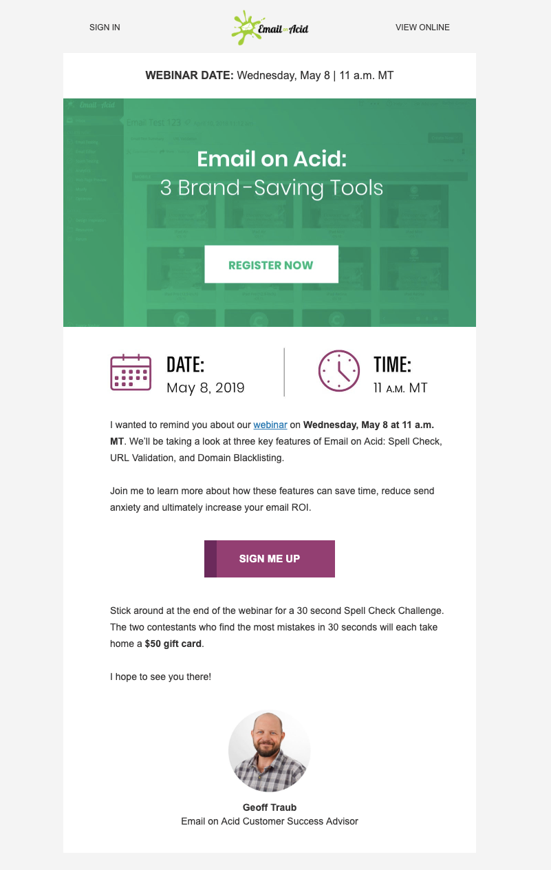 email on acid Webinar invitation email template