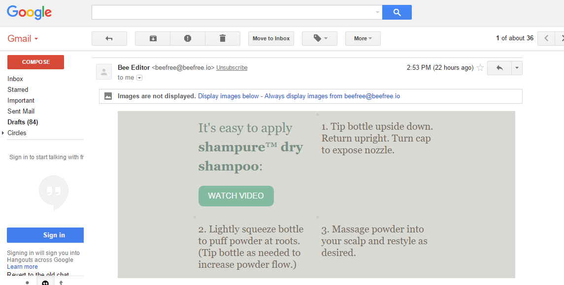 aveda email no images