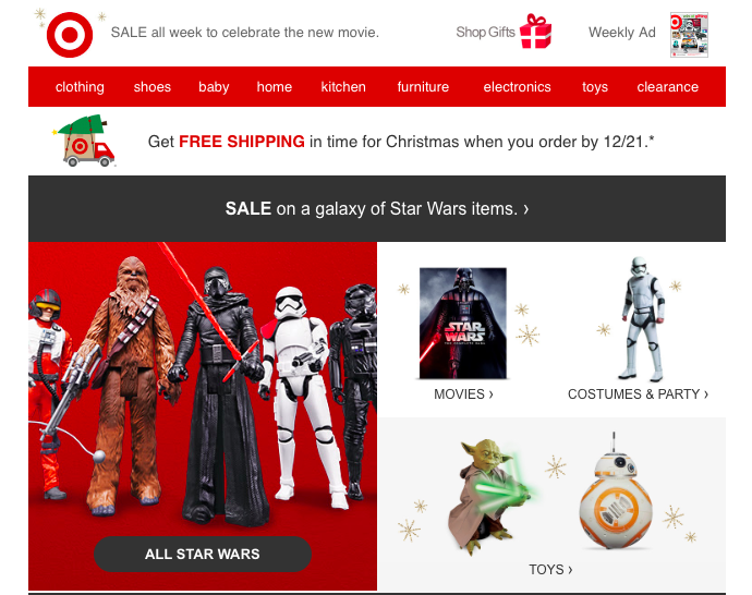 Star Wars email from Target