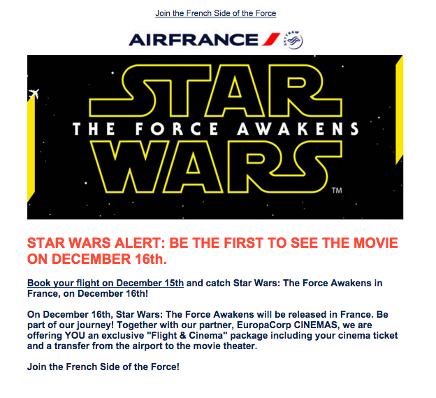 Star Wars Email from Air France