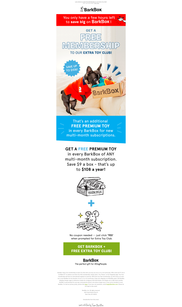 barkbox discount email design