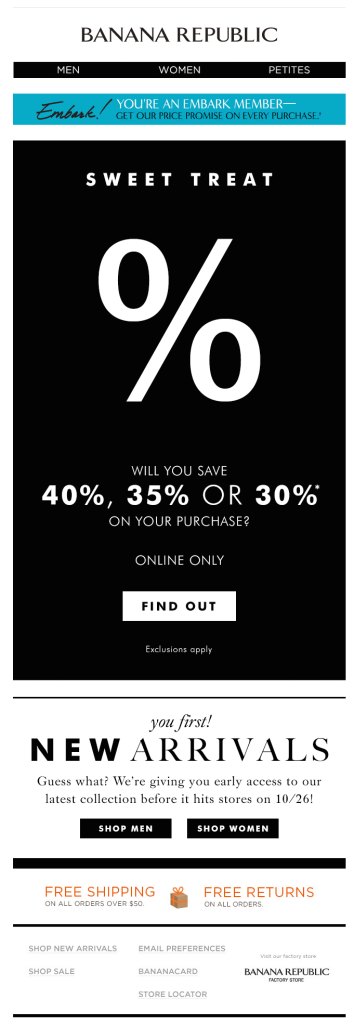 GIFs in Email: Banana Republic Example
