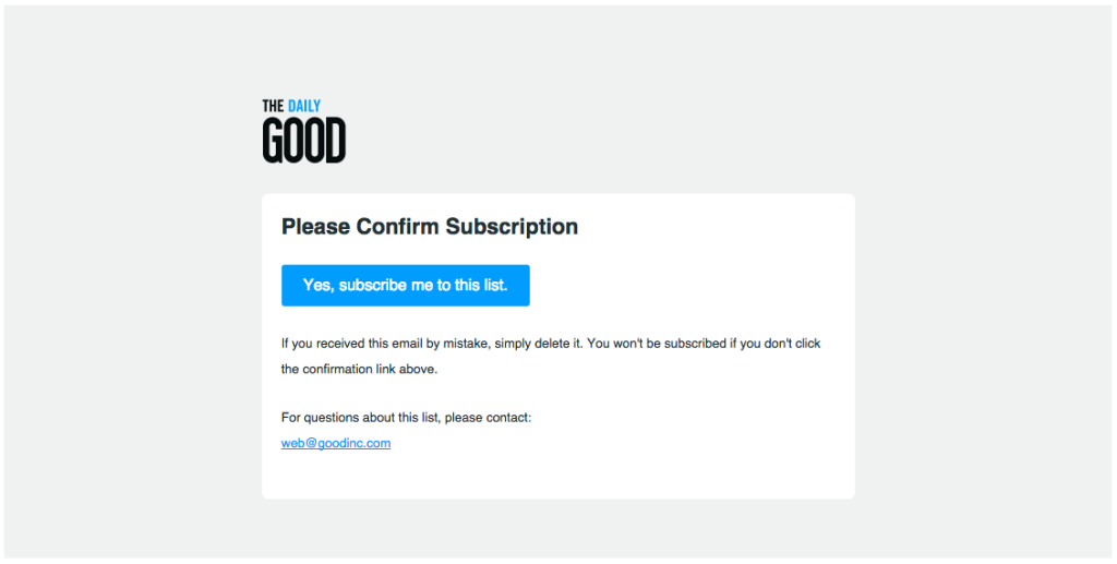 good subscription confirmation email