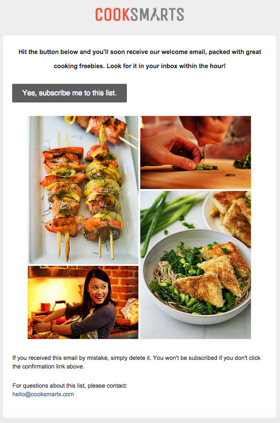 cook smarts subscription confirmation email