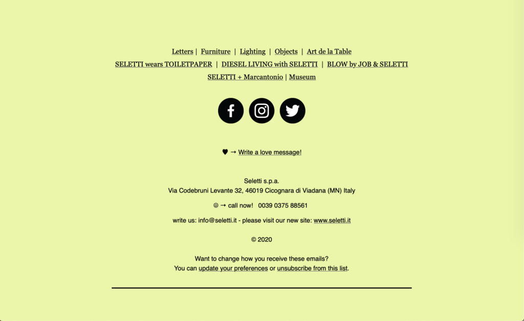 Seletti Email Design Footer