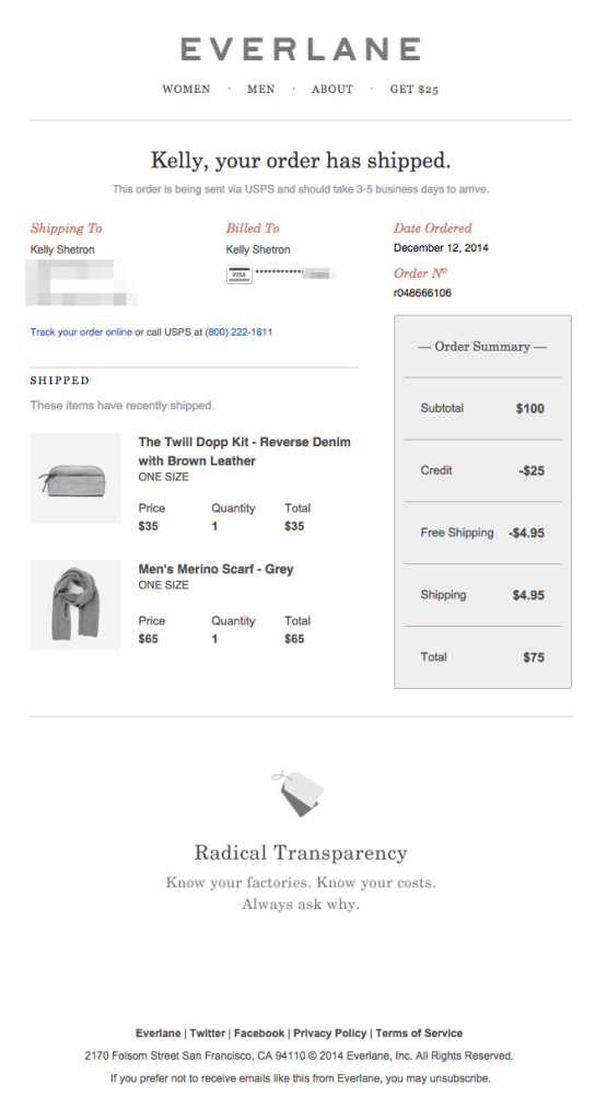 everlane order shipped email