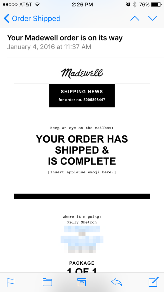 madewell mobile order shipped email