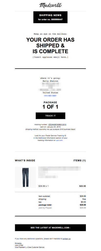 madewell order shipped email
