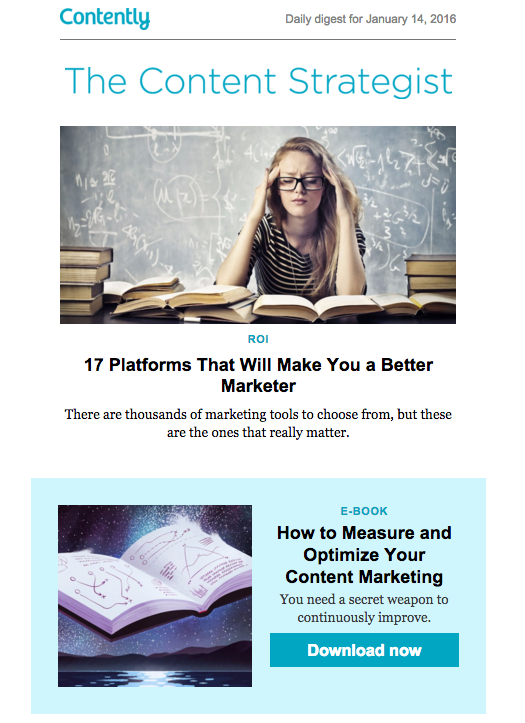 Colorful Content Area in Email from Contently