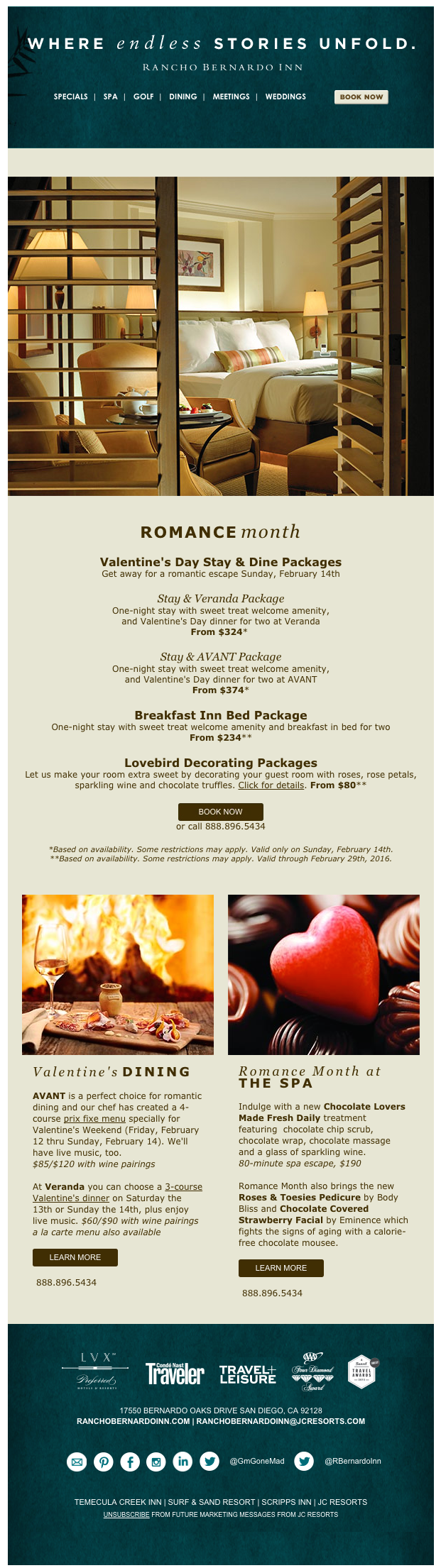 Alluring and romantic Valentine's Day email, without hearts! From Rancho Bernardo Inn, near San Diego