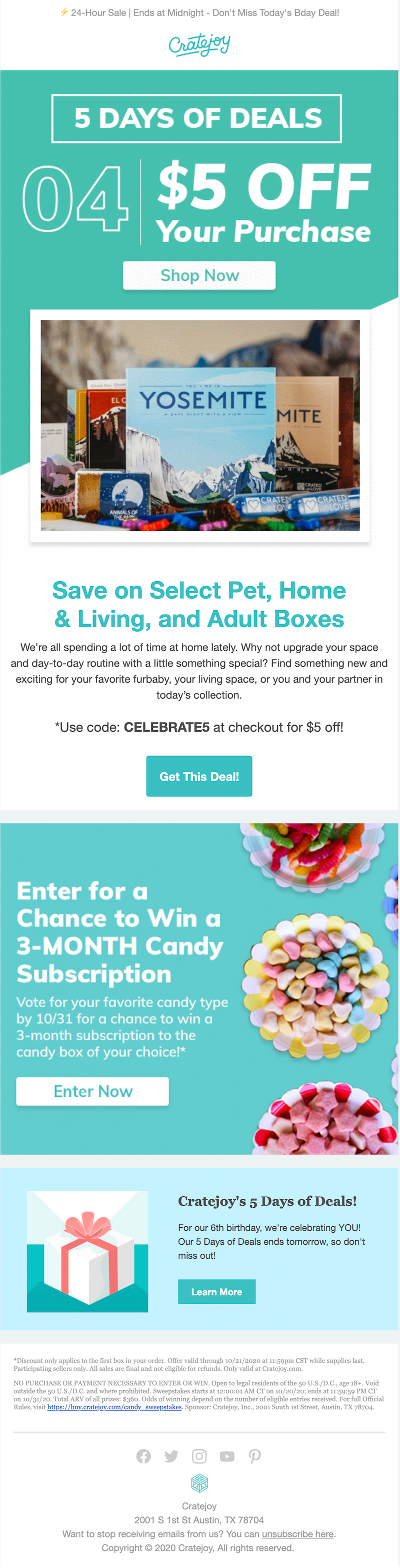 marketing email with color