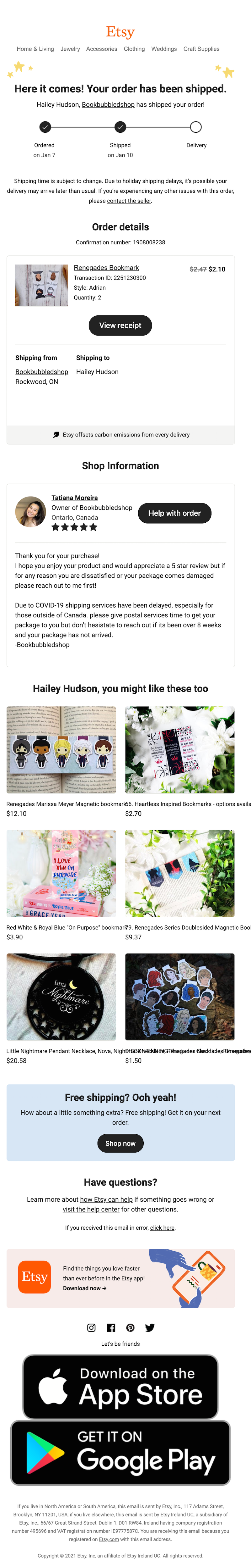 etsy shipping email