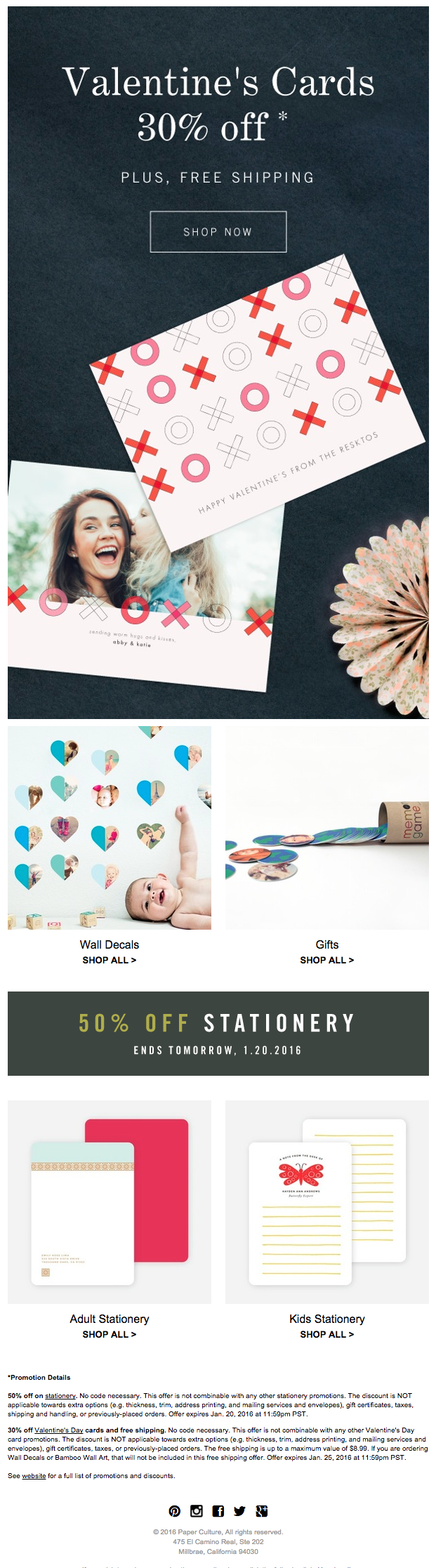Elegant Valentine's Day Email Design from Paper Culture