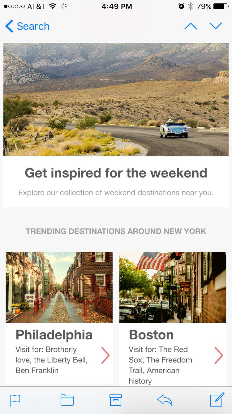 Design inspiration from travel newsletters - Email Design Workshop
