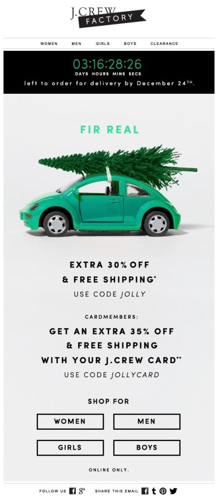 J.Crew Factory holiday email design