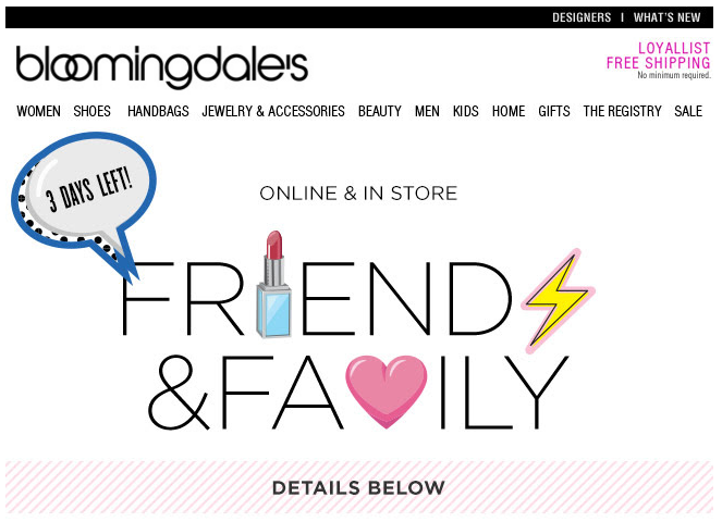 illustration in email: Bloomingdale's