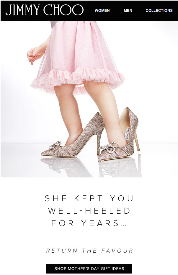 Mother's Day email from Jimmy Choo