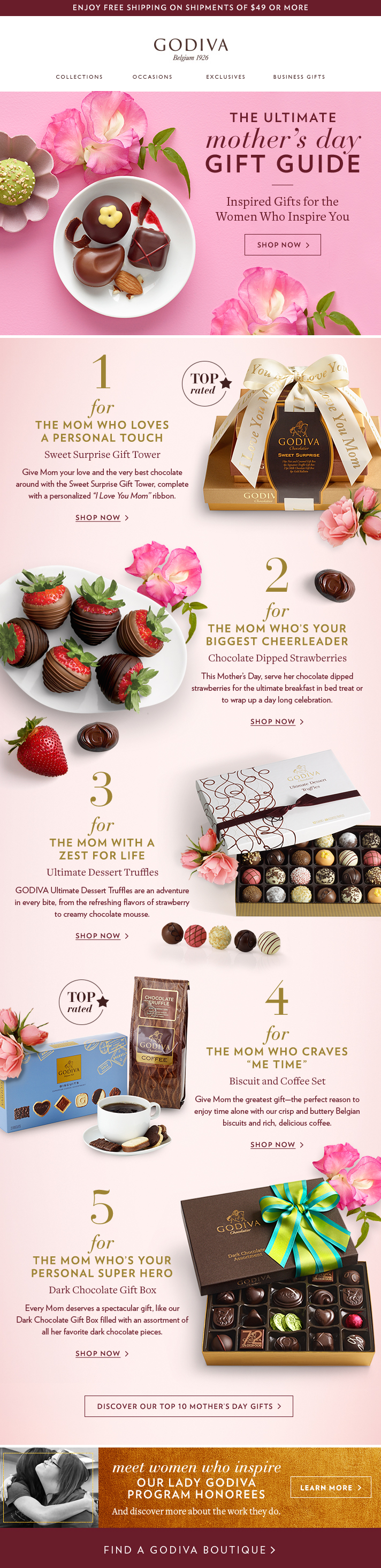 Mother's Day email from Godiva