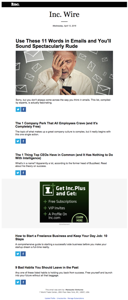 inc wire email newsletter templates