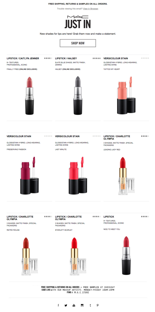 mac cosmetics email newsletter templates