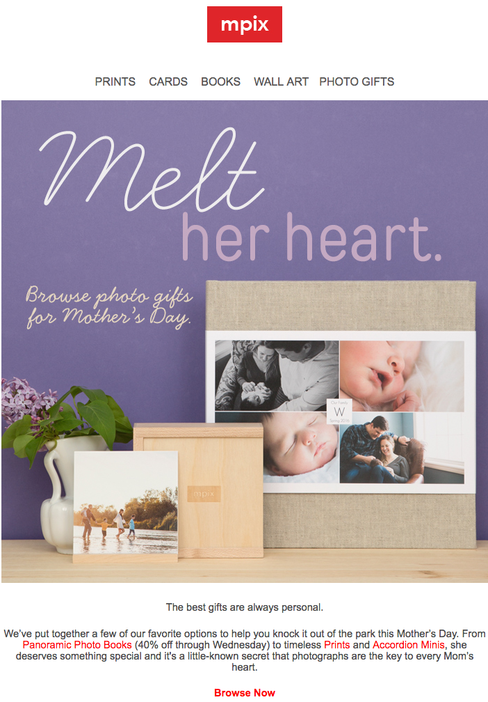 Mother's Day email from Mpix