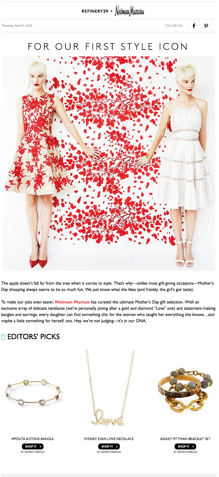 Mother's Day email from Nieman Marcus