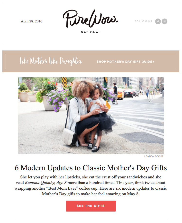 Mother's Day email from Purewow
