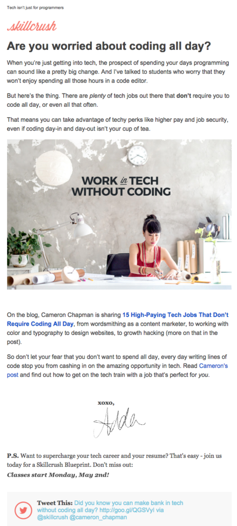 skillcrush email newsletter templates