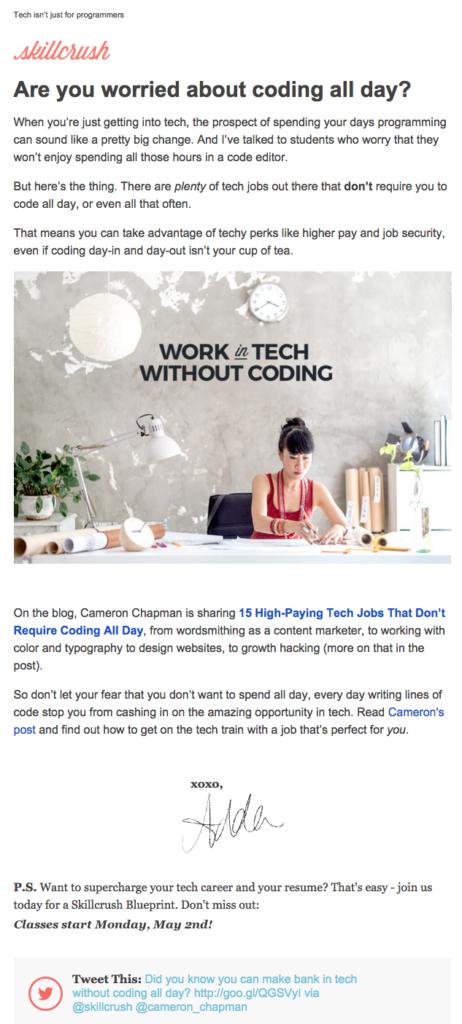 skillcrush email newsletter templates
