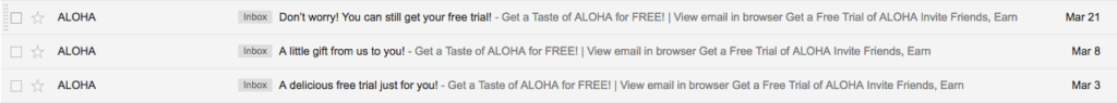 ALOHA email drip campaigns