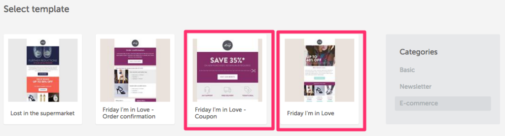 BEE coupon email layout