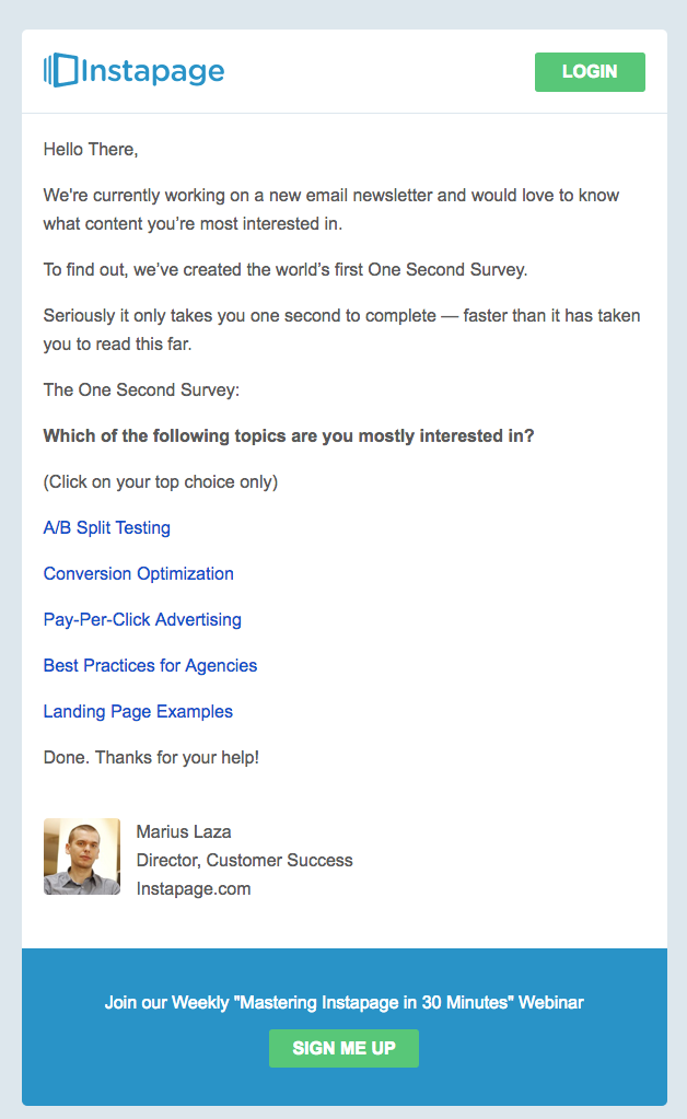 Instapage survey invitation emails