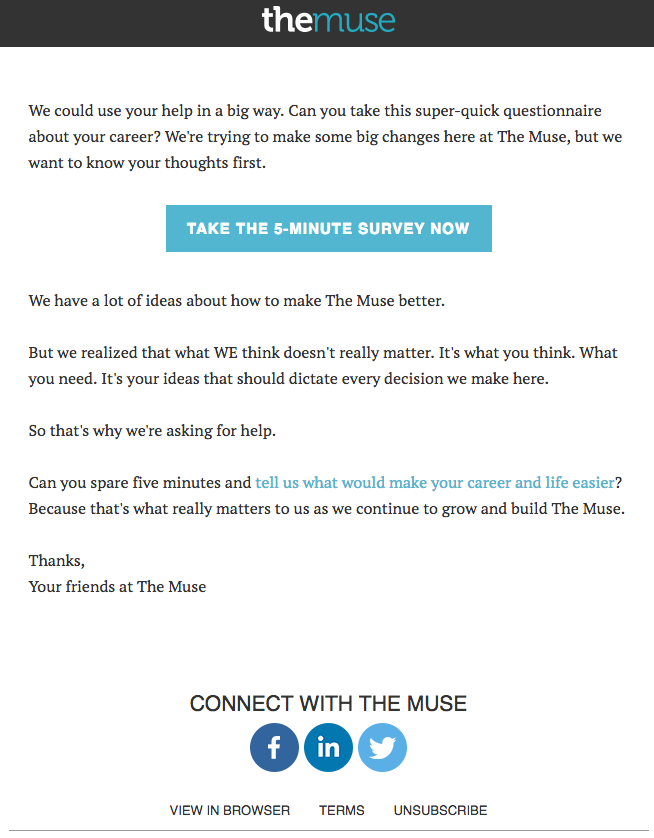 The Muse Survey Invitation Emails