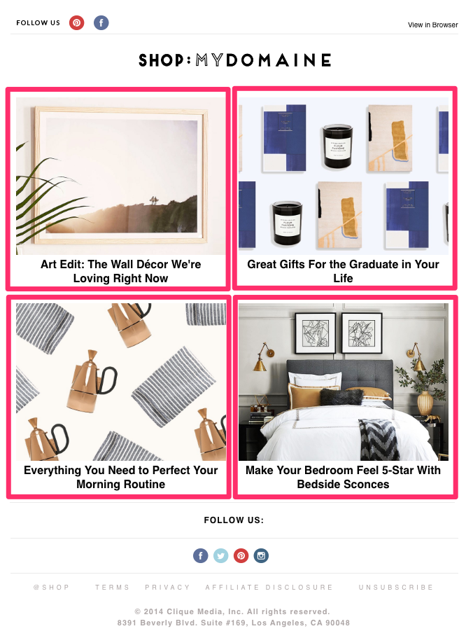 shop mydomaine email layout