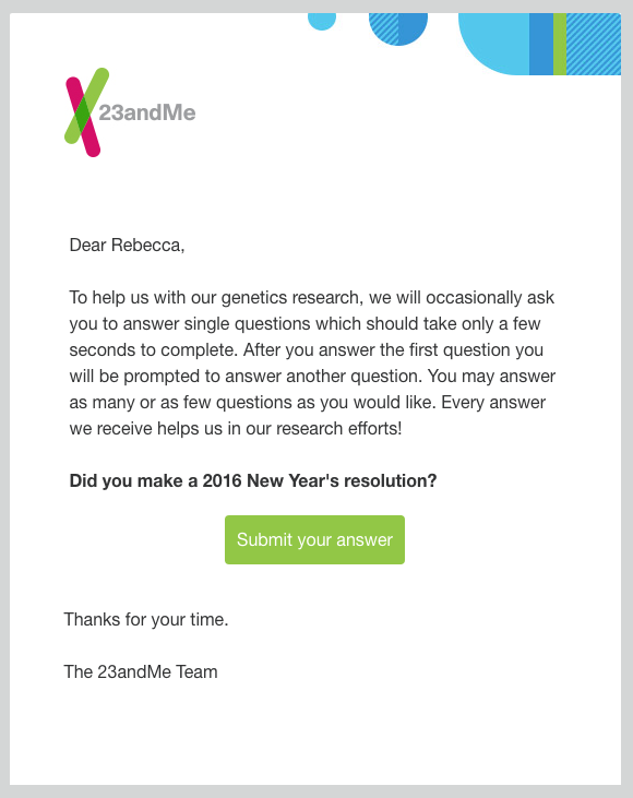 23andMe survey invitation emails