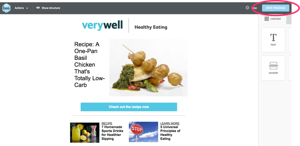 Verywell A/B testing BEE Pro save message