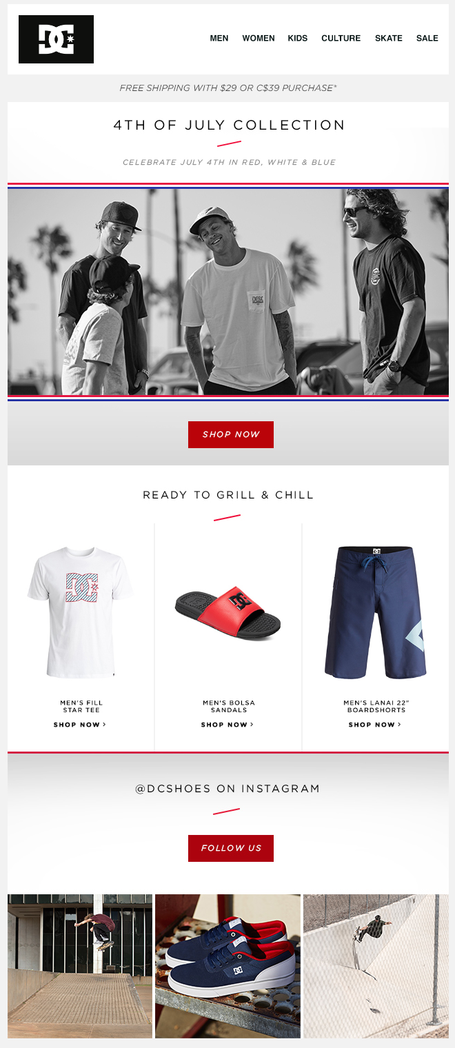 DC Shoes 4th of July email designs