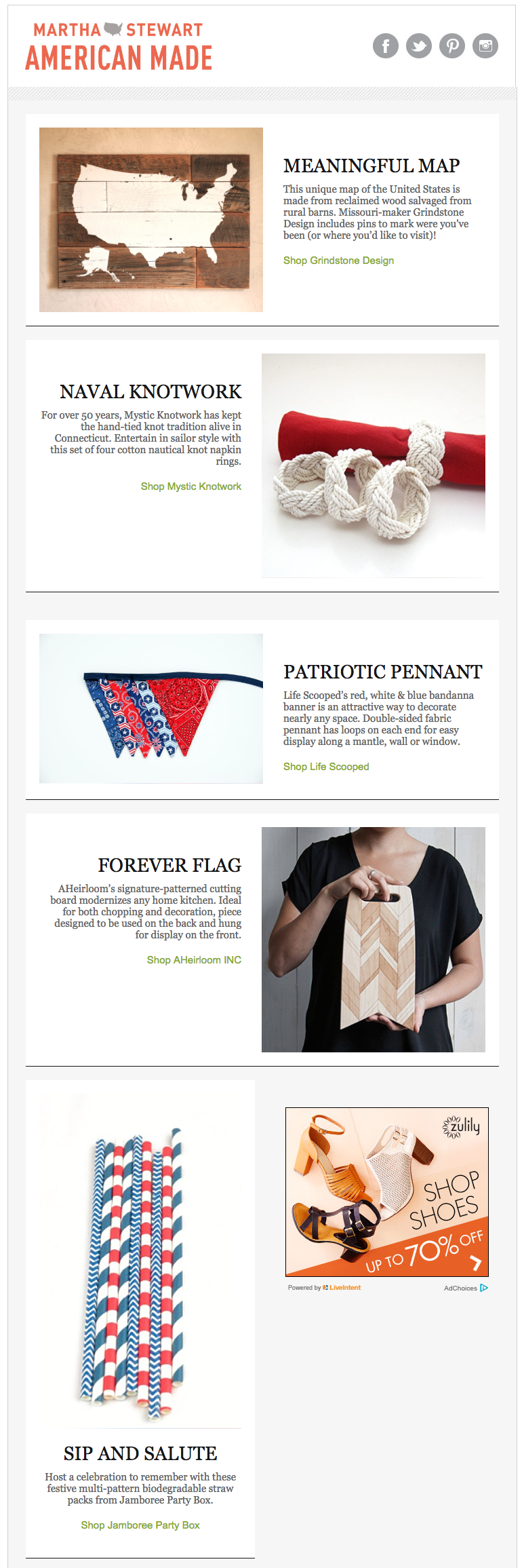 martha stewart american made 4th of July email designs