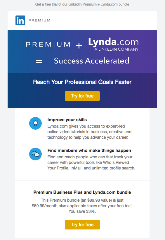 LinkedIn Lynda.com membership renewal emails