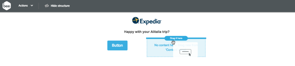 BEE tool Expedia one-question survey email