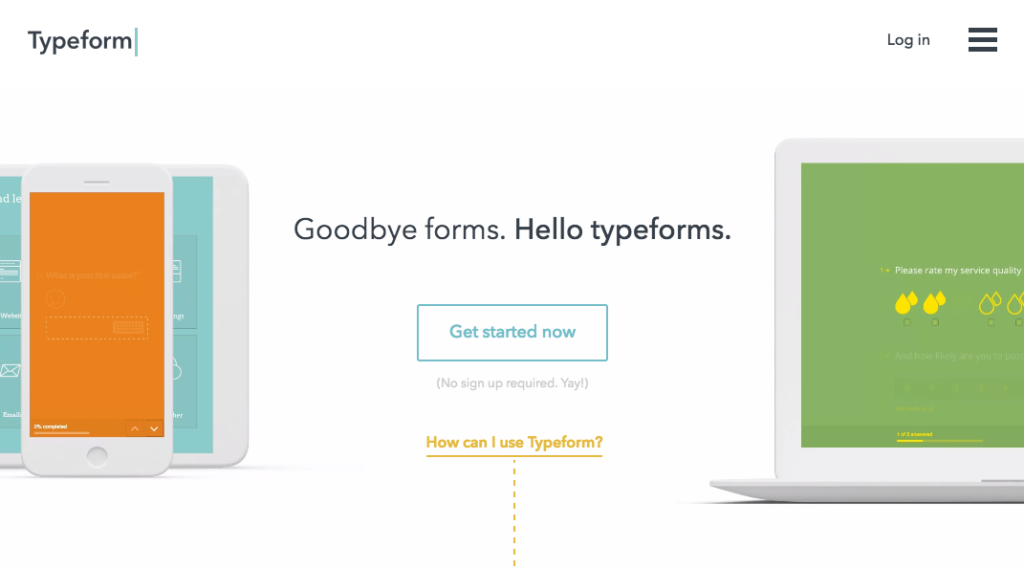 Typeform one-question survey email