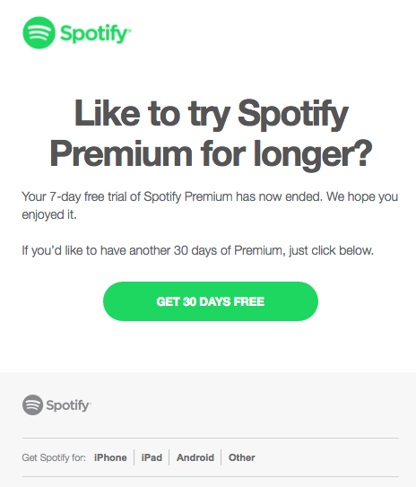 Spotify membership renewal emails