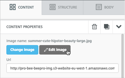 BEE Pro edit image using stock photos in emails