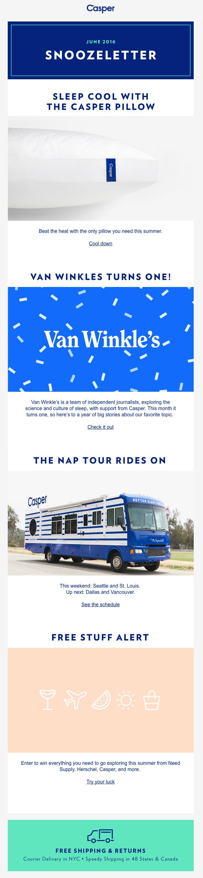 Casper email design trends