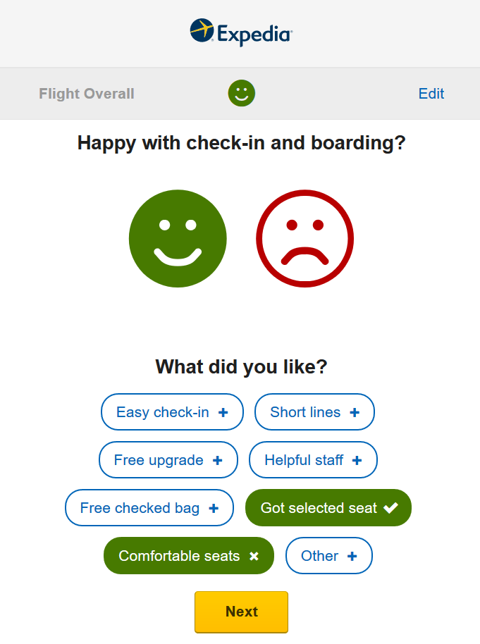 Expedia follow-up one-question survey email
