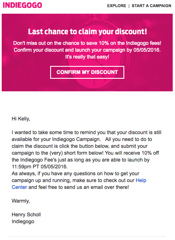 Indiegogo membership renewal emails