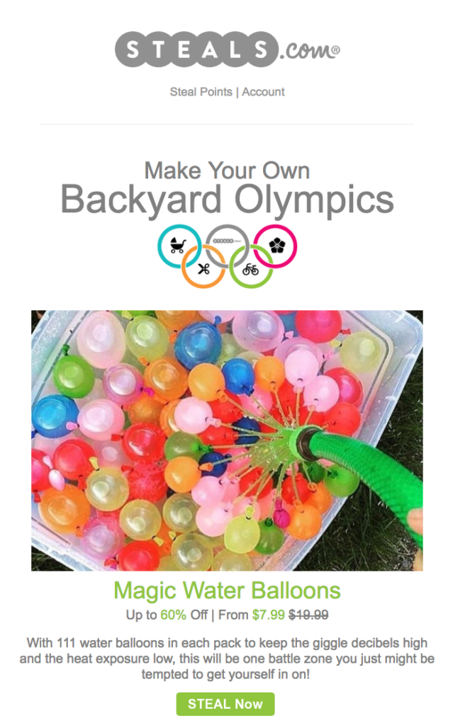 steals.com olympic email design