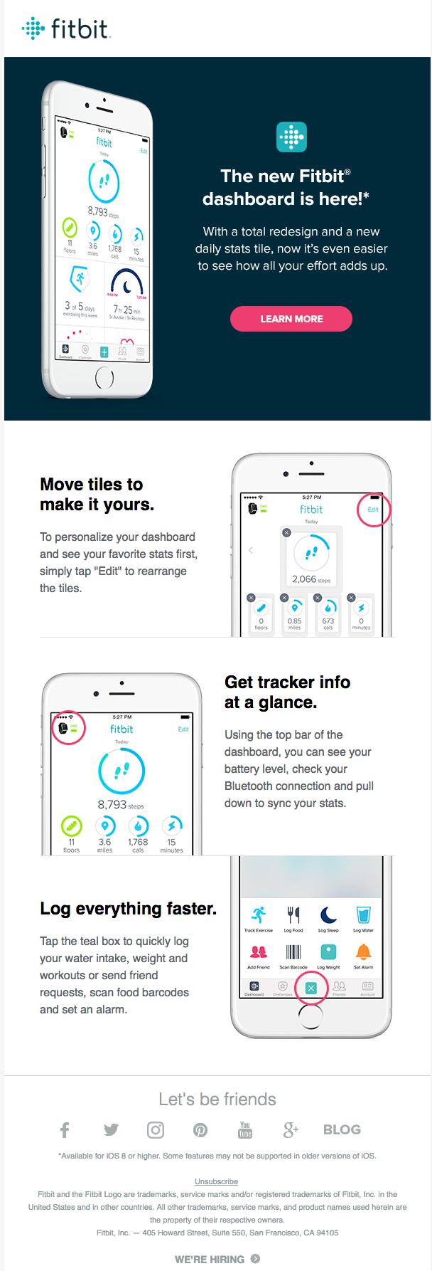 fitbit email design stream