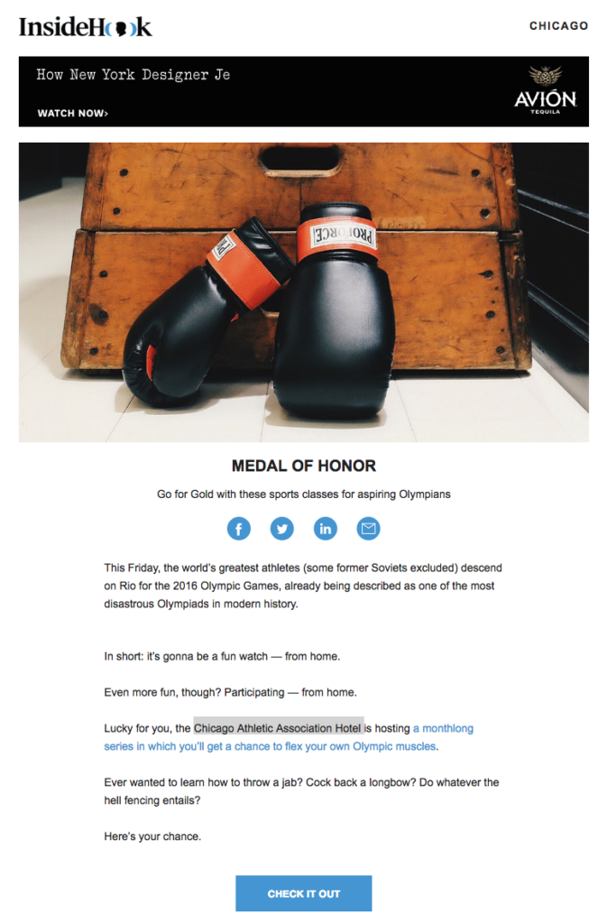 insidehook chicago olympic email design