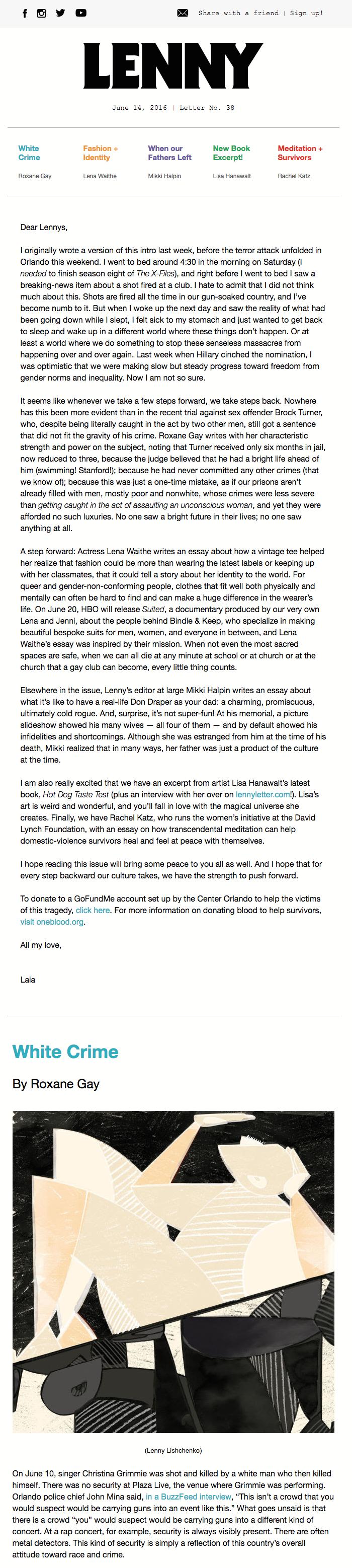 lena dunham lenny letter celebrity email newsletters